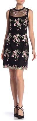 Nanette Nanette Lepore Sleeveless Floral Embroidery Mesh Sheath Dress