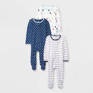 N. Baby Boys' 3pk Little Peanut Zip Sleep N' Play Pajama - Cloud IslandTM