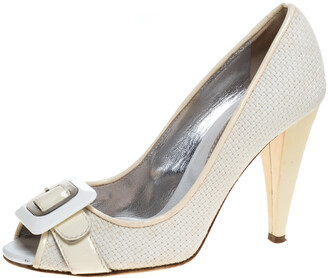 Dolce & Gabbana White/Cream Woven Fabric And Patent Leather Buckle Peep Toe Pumps Size 38