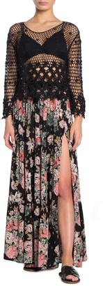 Angie Floral Print Side Slit Maxi Skirt
