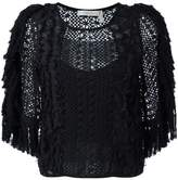 See by Chloe embroidered crochet fringed blouse