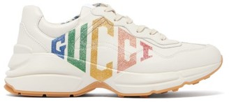 Gucci Rhyton Logo Low-top Leather Trainers - Ivory Multi