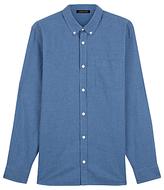 Jaeger Cotton Flannel Gingham Shirt, Blue
