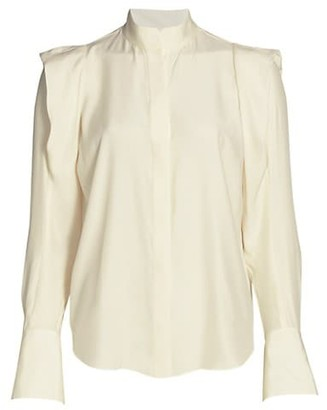 Frame Bella Padded Shoulder Silk Blouse
