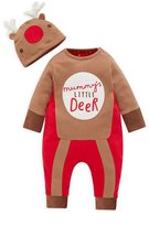 Albee Yang Baby Boy Christmas Romper Newborn Bodysuit Costume Outfit Hat 2pcs