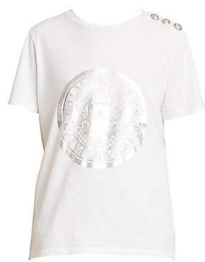 Balmain Women's 3-Button Metallic Crest Graphic T-Shirt