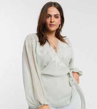 ASOS DESIGN Curve wrap top with embroidered sleeve detail in sage