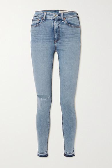 Thumbnail for your product : Rag & Bone Nina Distressed High-rise Skinny Jeans - Light denim