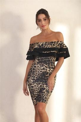Miss Floral Bodycon Frill Bardot Midi Dress In Brown Leopard