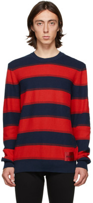 HUGO BOSS Navy and Red Striped Sanor Sweater