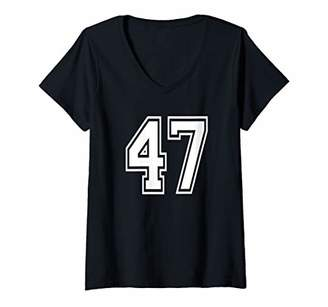 Womens Number 47 Birthday Sports Player Numbe Jersey V-Neck T-Shirt