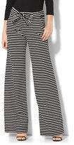 New York & Co. 7th Avenue Pant - Wide-Leg - Black & White Stripe - Tall