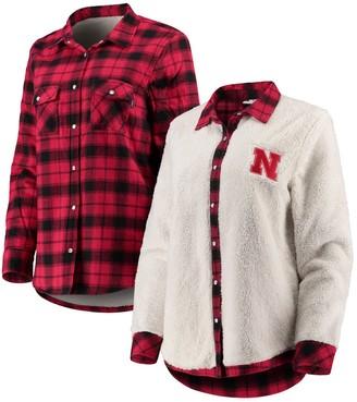 Unbranded Women's Scarlet/Cream Nebraska Cornhuskers Reversible Sherpa Flannel Long Sleeve Button-Up Shirt