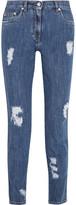 Moschino Distressed Mid-rise Slim-leg Jeans - Mid denim