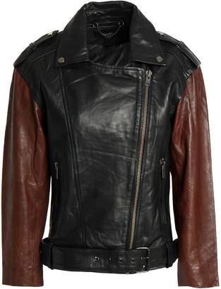 Muu Baa Muubaa Two-tone Leather Biker Jacket