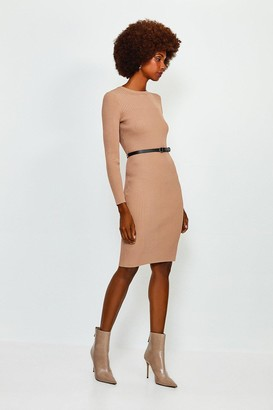 Karen Millen Knitted Rib Dress With Skinny Belt