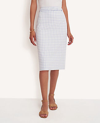 Ann Taylor Gingham Belted Pencil Skirt