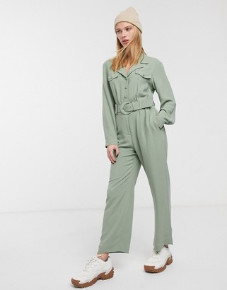 And other stories & pocket detail long sleeve jumpsuit in khaki