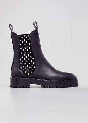 Alaia Veau Leather Jeweled Chelsea Booties