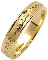 Fado Ladies 14k Yellow Narrow Rounded Claddagh Wedding Ring Size 8.5