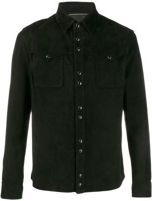 Saint Laurent Lambskin Suede Shirt Jacket