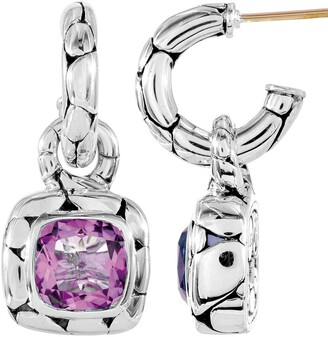 John Hardy Batu Kali Sterling Silver Cushion-Cut Amethyst Drop Earrings
