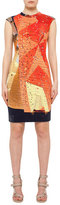 Akris Punto Rock Climbing Wall Printed Cap-Sleeve Dress, Rust/Navy
