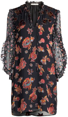 Alice + Olivia Julius Floral Ruffle-Sleeve Shift Tunic Dress
