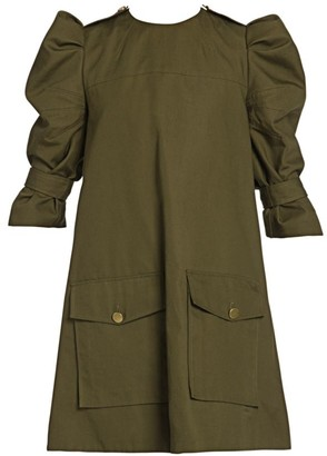 Alexander McQueen Puff Sleeve Cargo Dress