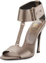 Roger Vivier T-Strap Satin Sandal Pump, Tortora