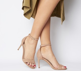 Office Mimosa Two Part Mid Sandals Nude Nubuck With Branding
