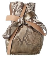 Jimmy Choo Eve Snakeskin Embossed Leather Bucket Bag.