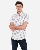 Express Slim Floral Button-Down Short Sleeve Shirt
