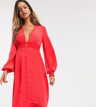Asos Tall ASOS DESIGN Tall long sleeve button through midi dress with shirred waist in red