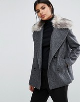 Sisley Double Breasted Coat with Detachable Faux Fur Collar