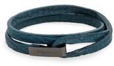 Salvatore Ferragamo Men's Double Wrap Leather Bracelet