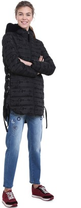 Desigual Mid-Length Hooded Padded Jacket