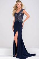Jovani Beaded Bodice Jersey High Slit Dress JVN47867