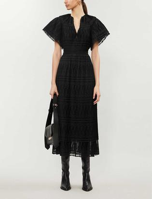 Sandro Pleated crepe maxi dress