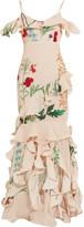 Johanna Ortiz - La Santa Maria Ruffled Printed Silk Gown - Beige
