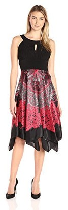 Sangria Women's Halter Fit and Flare Handkerchief Dress with Keyhole Neck Detail