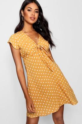 boohoo Woven Polka Dot Tie Detail Shift Dress