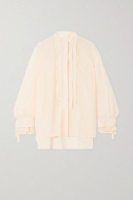 Chloé Pleated Silk Crepe De Chine Blouse - Cream