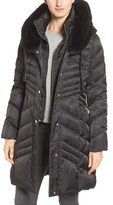 Via Spiga Women's Water Repellent Puffer Coat With Faux Fur Trim