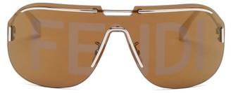 Fendi Logo-lens Mask Metal Sunglasses - Brown