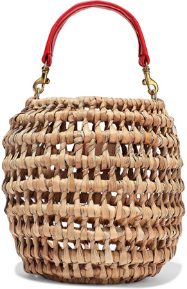 Clare Vivier Pot De Miel Leather-trimmed Woven Straw Tote