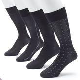 Croft & Barrow Men's 4-pack Patterned Microfiber Fashion Clocking Dress Socks