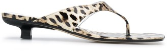 BY FAR Jack Thong 35mm leopard-print sandals