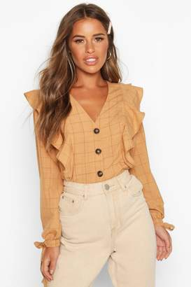 boohoo Petite Button Up Frill Check Blouse