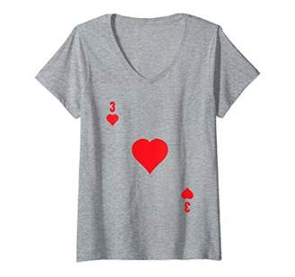 Womens 3 Of Hearts V-Neck T-Shirt